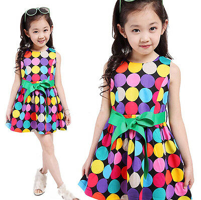 Baby Girls Clothes Flower Printing Tutu Skirt Kids Infant Outfit Bow Dress 3-7Y
