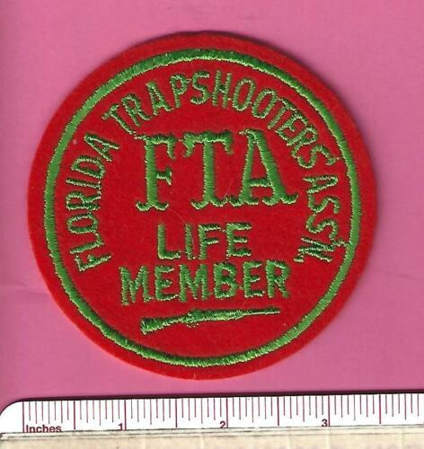 FTA Life Member Gun Shooting Felt Patch Old Fl Fla Florida Trapshooters Assn