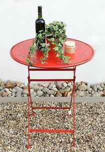 Tisch-034-Passion-034-D-65-cm-aus-Metall-3607-Rot-Gartentisch-Bistrotisch-Klapptisch