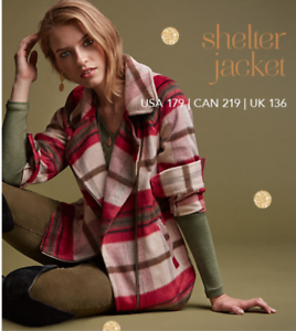 Cabi-New-NWT-Size-S-Shelter-Jacket-3678-Red-brown-cream-plaid-2018