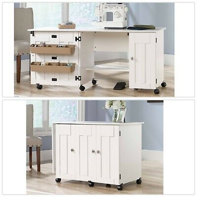 White Sewing Machine Craft Table Drop Leaf Shelves Storage Bins Cabinets Ebay