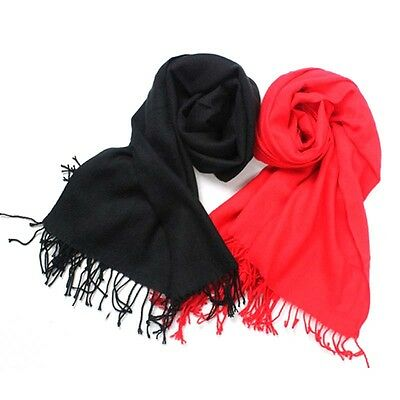 Mens Womens Classic Cashmere Scarf Solid Color Tassels Scarves Muffler Wraps HOT