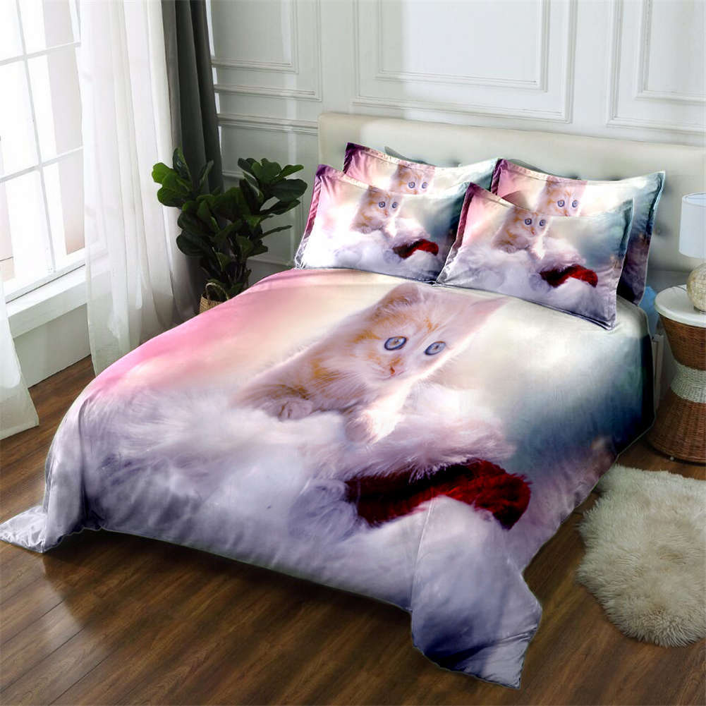Fluffy Little Cat 3D Printing Duvet Quilt Doona Covers Pillow Case Bedding Sets