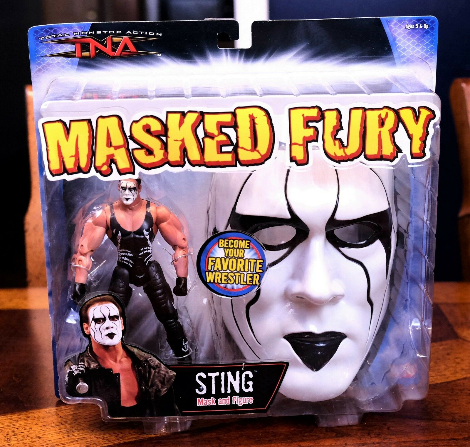 TNA Marvel Series Sting Masked Fury Wrestling Action Figure & Mask MOC WWE_bx3