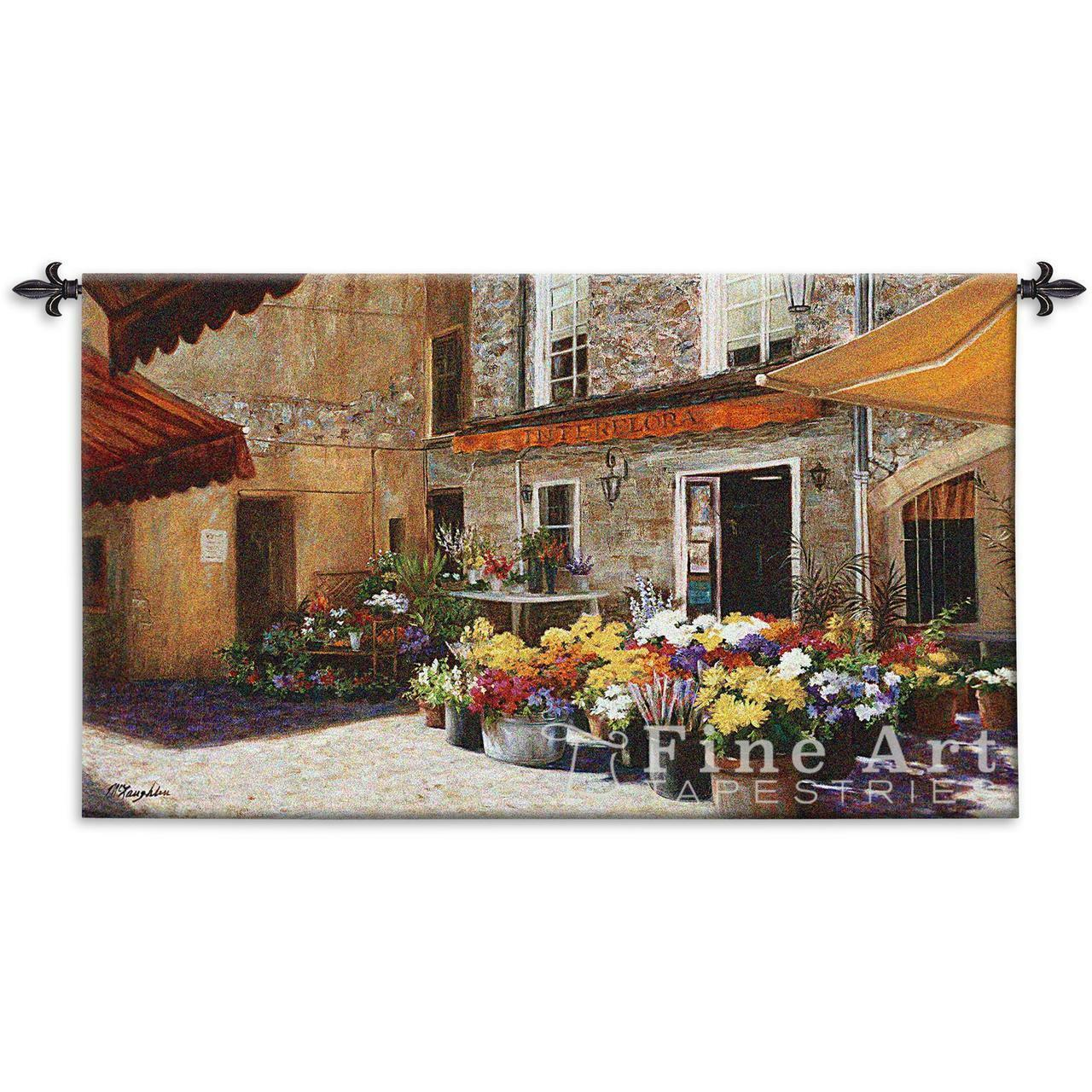 The Flower Shop Tapestry European European European Street Scene Picture 53 x34  c4ba61