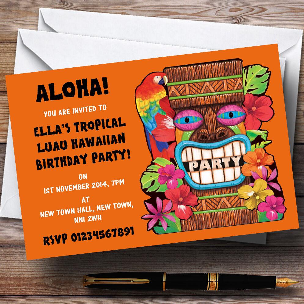 naranja Tropical Luau Hawaiian Personalizado Fiesta Invitaciones