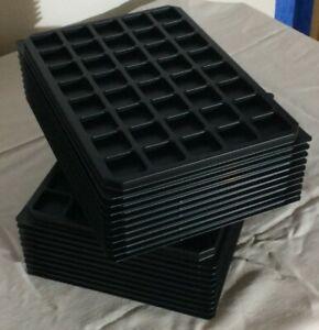400 capsules Rangement en feutrine rouge Lot de 10 plateaux alvéoles carrées
