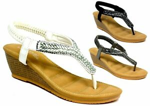 REVEAL-LADIES-WOMEN-New-Soft-Cushioned-Toe-Post-Wedge-Heel-Sandal-UK-Size-3-8