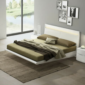 online store 49cf9 18306 Details about Eleanor White High Gloss Floating Double Bed