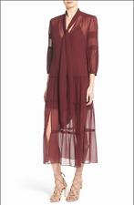 NWT Olivia Palermo + Chelsea 28 Nordstrom S Burgundy Tie Neck Peasant Midi Dress