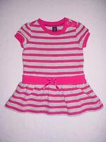 EUC Baby GAP Girls POP COMICS Pink & Gray Striped Drop Waist Dress 12-18 M