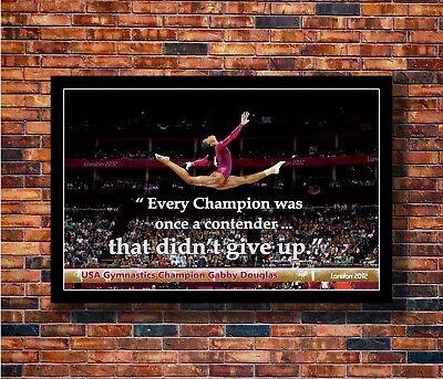Gabby Douglas American Gymnastics Olympic Motivational Quotes Art Poster N3440