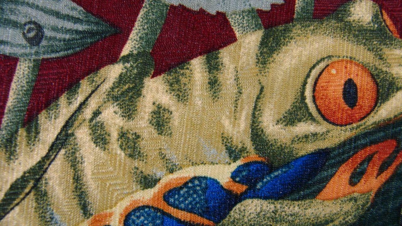Puritanisches Dunkelrot Grün Gelb Frösche Repeat Seide Krawatte MNO1019A #V32