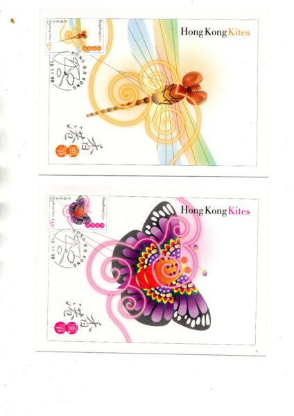 Bien Hong Kong 1998 Hong Kong Cerfs-volants Question Carte Série 9 Set Complet Quatre Estampillé/comme Neuf.