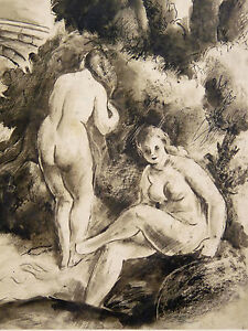 Pierre-GANDON-1899-1990-Tinte-China-Born-ZU-DEN-HAY-LES-ROSES-Frauen-Frau-Akt
