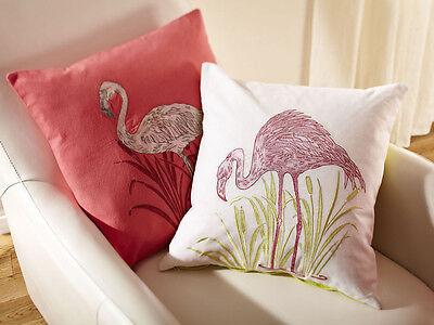 "Lochs & Lagoons, Pre Filled Cushion Embrioidered Stag, Flamingo, Tartan 18""x18"""