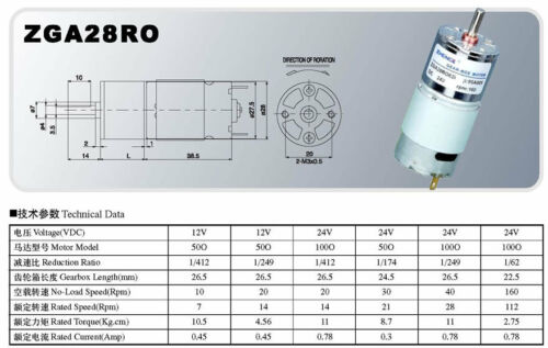 Two Terminals Electric DC Gear Motor DIY ZGA28RO DC 12V 400RPM 21mm Body Dia