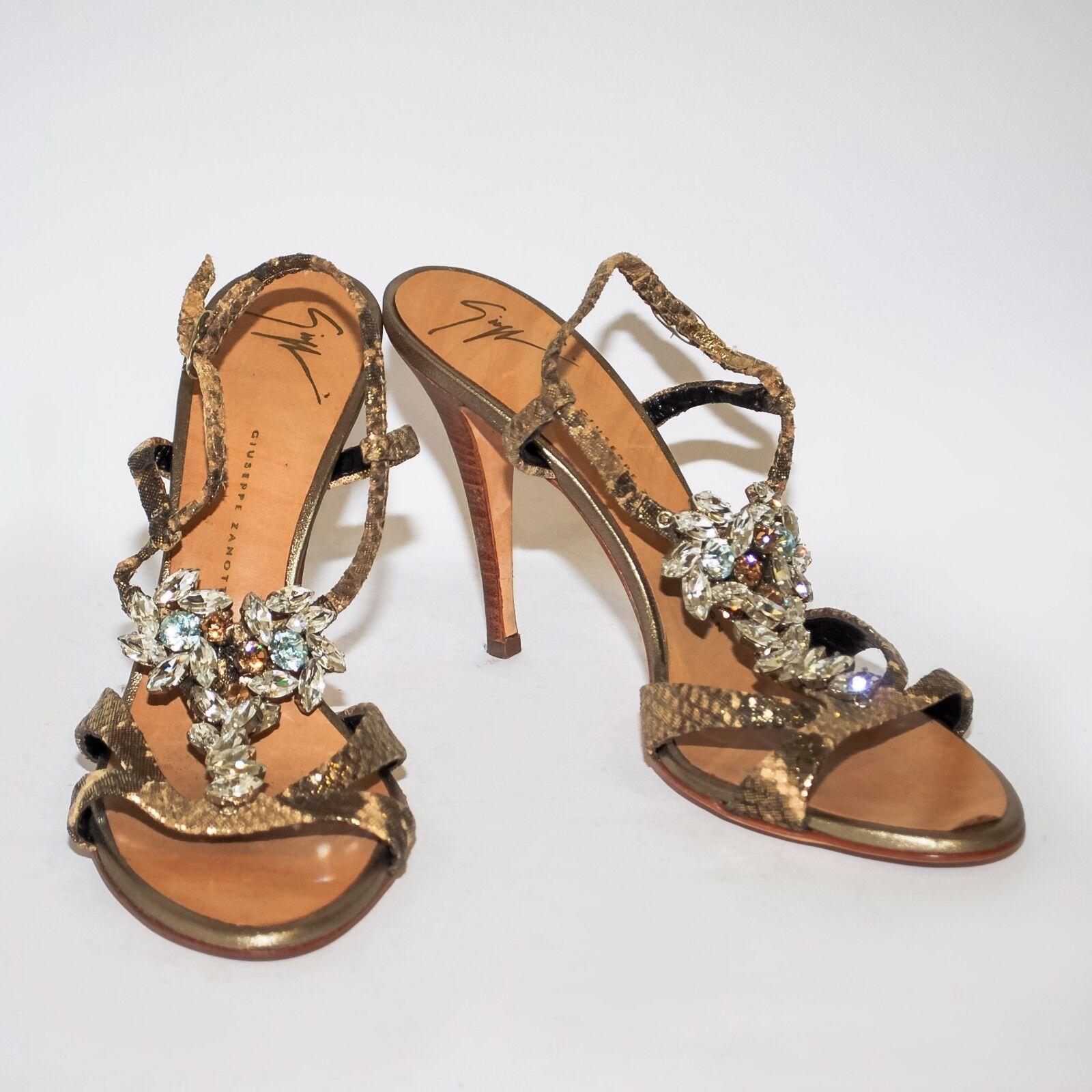 punto vendita Giuseppe Zanotti oro Leather Leather Leather High Heels Sandals Crystal Pumps Stilettos US 7.5  fabbrica diretta