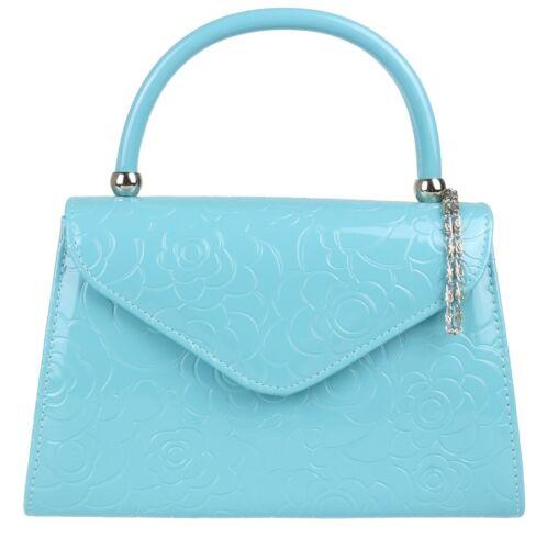 New Faux Leather Embossed Top Handle Clutch Bag Designer Handbag Womens Fashion