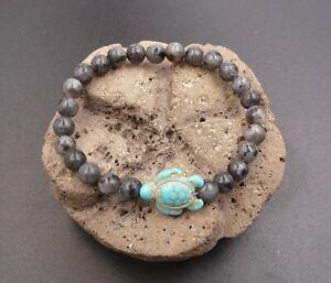 Bracelet en Labradorite du Canada 6 mm + tortue Amérindienne en Turquoise