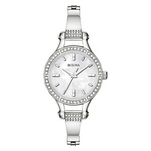 Bulova-Women-039-s-Quartz-Swarovski-Crystal-Accent-Silver-Tone-27mm-Watch-96L128