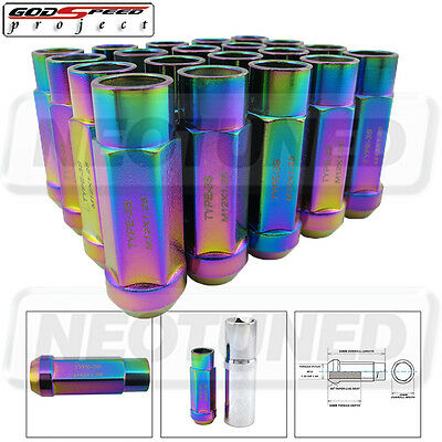 GODSPEED TYPE 3-X 55MM STEEL OPEN END LUG NUTS 20 PCS. SET M12 X 1.25 NEO CHROME