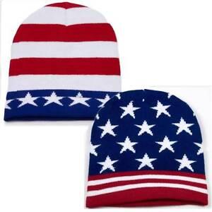 USA American Team Flag Beanie Patriotic Knit Pom Winter Ski Cap