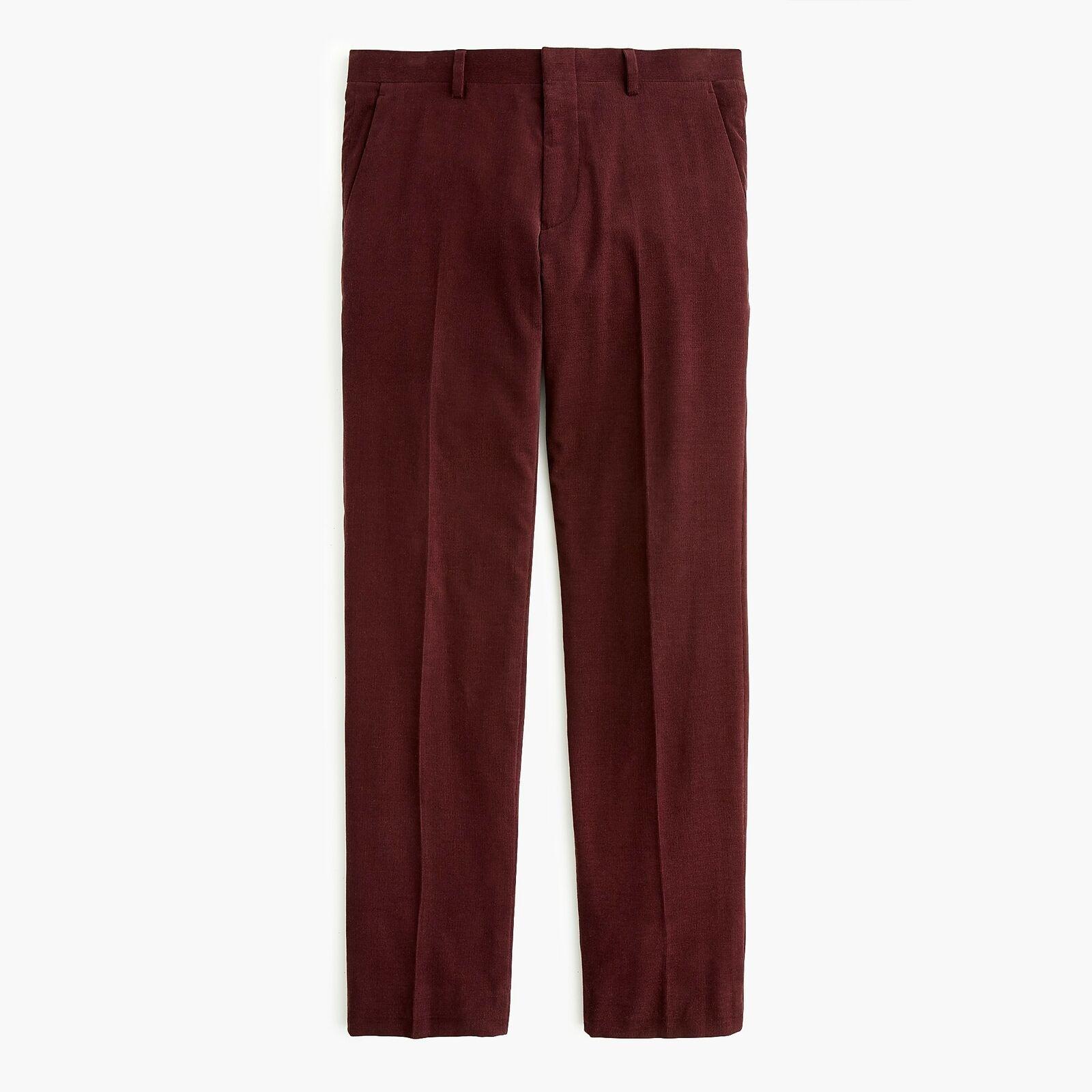 J.Crew Ludlow Suit Pant in Italian Cotton Corduroy   32 30   Burgundy
