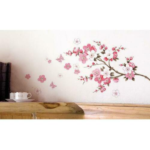 Removable Peach Plum Cherry Blossom Flower Butterfly Mural Wall Decal Stickers Q