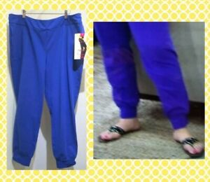WOMEN-WITH-CONTROL-Size-2X-Blue-Jogger-Pants-Contour-Waist-Banded-Bottom-NWT