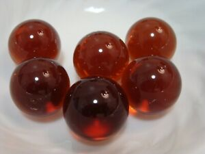 6-Vintage-Transparent-Jewel-Gem-Marbles-1IN-Shooters-Brown-Collector-Gift-Play