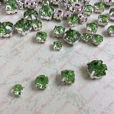 MIXED Sizes Point back Rhinestone Settings Claws Crystal Glass Sew On 200ps