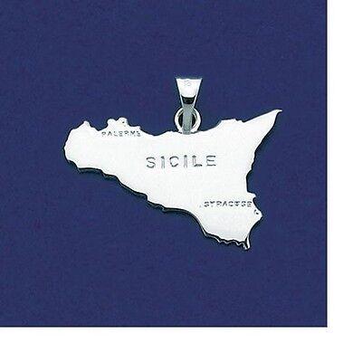 Pendentif Carte Pays Sicile 25 mm Argent Massif 925//000 Rhodié de Dolly-Bijoux