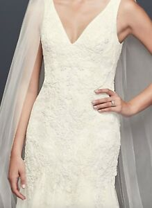Details About Never Worn Unaltered Pearl Beaded V Neck Mermaid Wedding Dress By Oleg Cassini