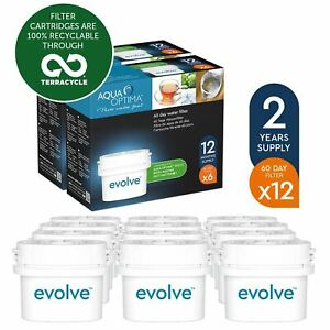 12-Aqua-Optima-Evolve-60Day-Water-Jug-Refill-Filter-fit-BRITA-MAXTRA-2-Year-Pack
