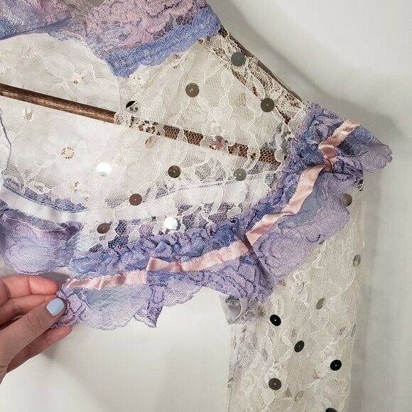 Handmade Lace Cover Fairycore White and Lilac Siz… - image 5