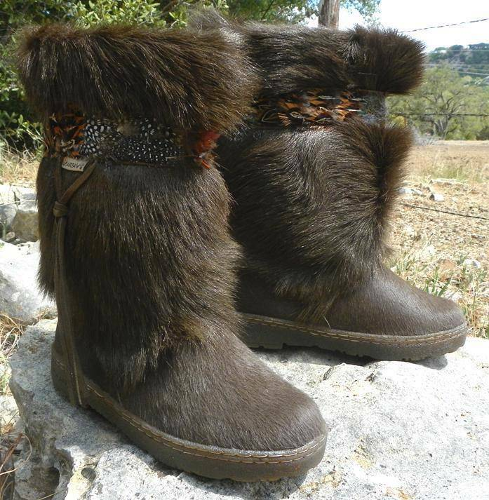 NEW BEARPAW KOLA II EXOTIC Goat FUR Winter Sheepskin ApresSki Mukluk Boots Maple