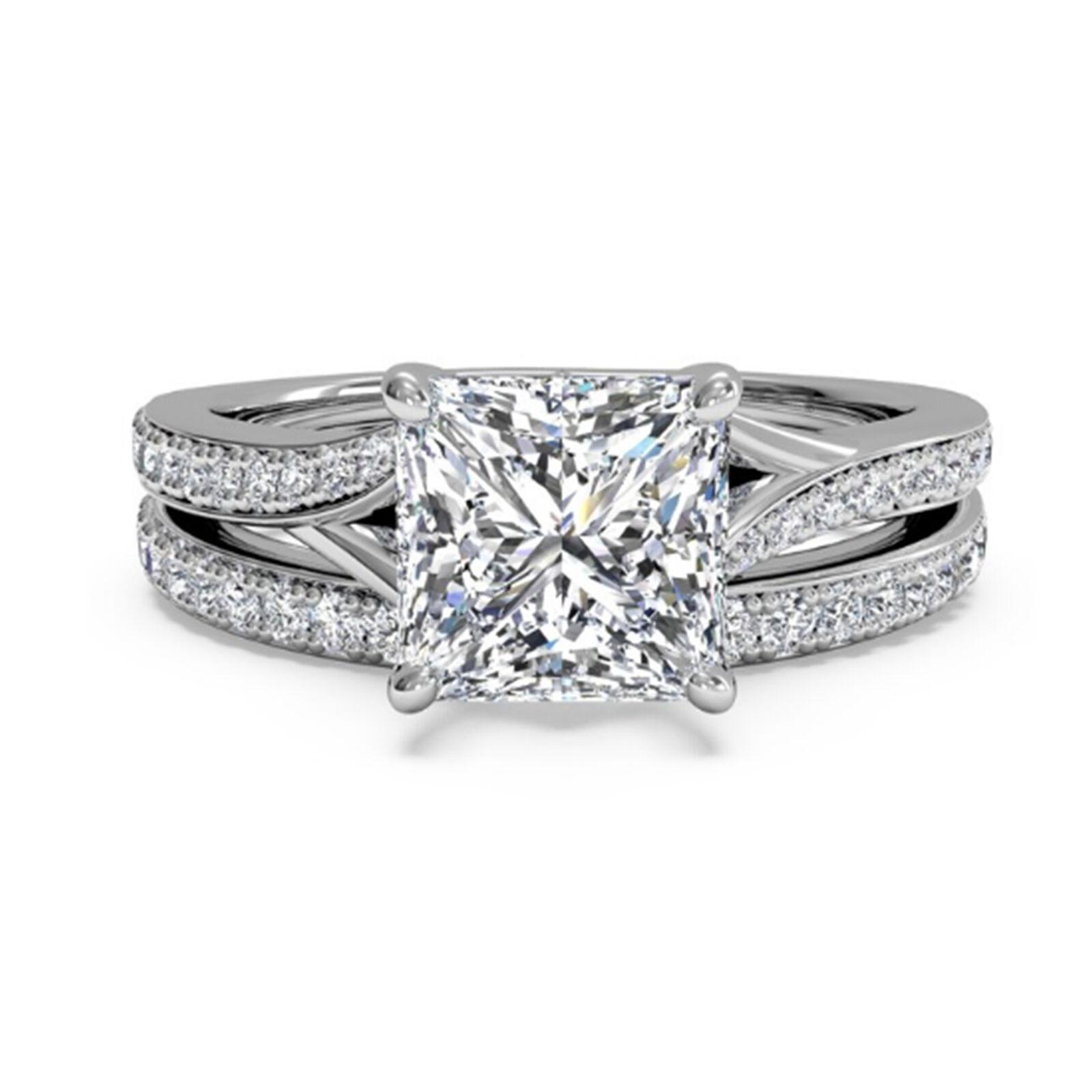 Bridal 1.50 Ct  Diamond Wedding Engagement Ring Set 14K White gold Princess Cut
