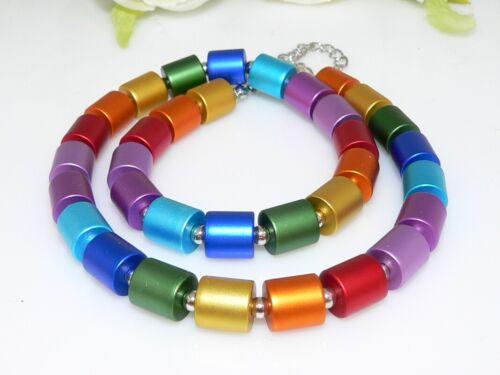 Collier Halskette Zylindern Drums Walzen eloxierten Aluminium multicolor 209y