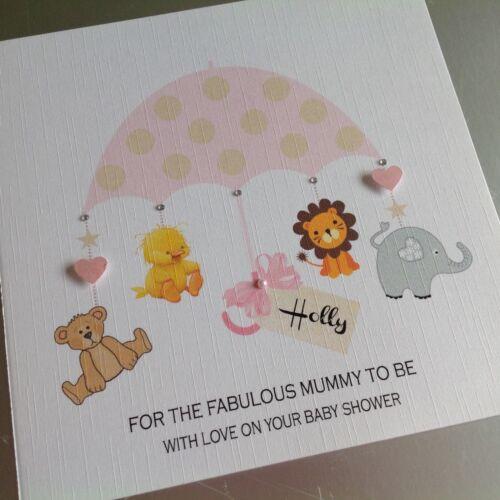 PERSONALISED Handmade Card BABY SHOWER Mum To Be PINK PARASOL Girl