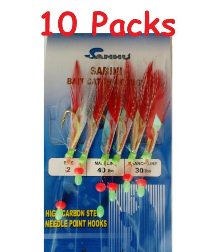 486 10 Packs Size #2 Sabiki Bait Rigs 6 Hooks Red Feather