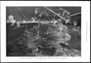 1899-Antique-Print-AMERICA-New-York-Admiral-Dewey-Fireworks-Hudson-352