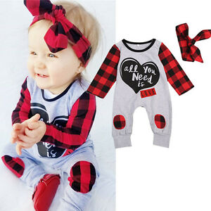 Toddler-Kid-Baby-Boy-Girl-Romper-Bodysuit-Jumpsuit-Headband-2PCs-Outfits-UK-jin