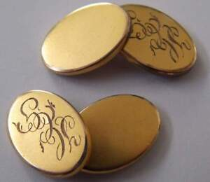 Details about Antique Monogram Initials 10k Solid Yellow Gold Cuff links  Men'S Jewelry