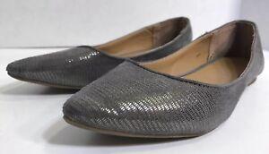 Womens-GAP-Gray-Ballet-Flat-Slides-Metallic-Suede-Size-6-Slip-on-Shoes