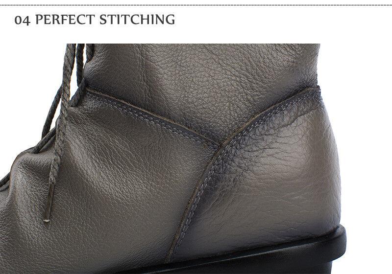 Damenschuhe Genuine Cowhide Leder Lace Up Zip Flat Up Flat Zip Ankle Gray Stiefel-Größe 6-10 e5d6ab