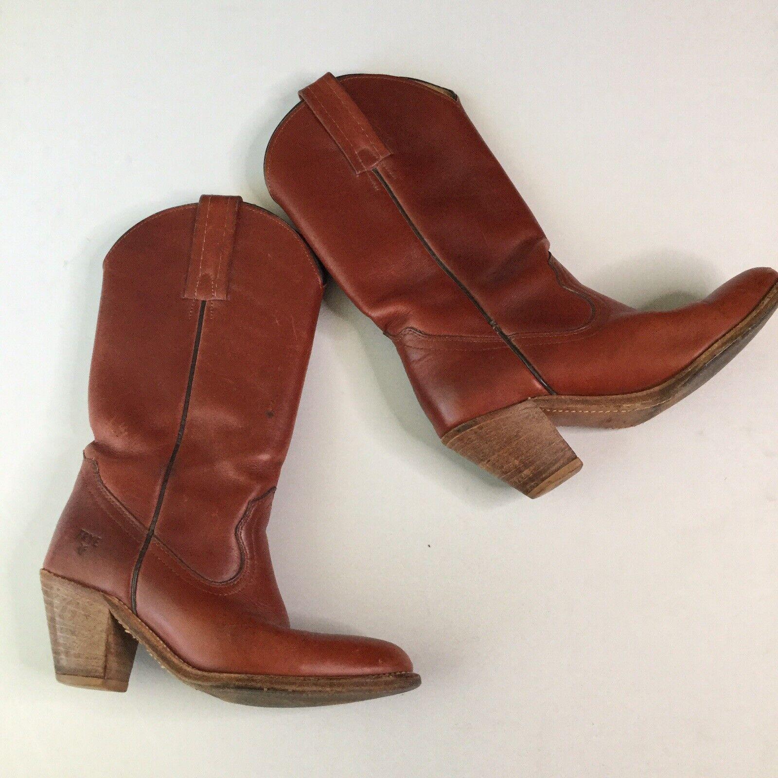 Vtg  Frye donna Cowboy stivali 5.5 B Marronee Leather Western Stack Heel paese  spedizione e scambi gratuiti.