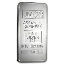 10 oz Johnson Matthey Silver Bar - Pressed