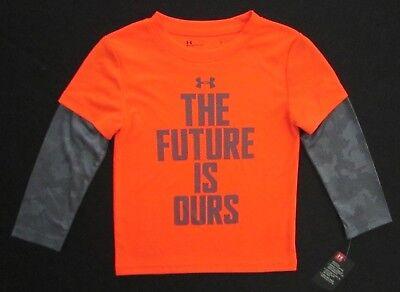 Boys Youth Under Armour Shirt NEW Long Sleeve Orange Gray Rookie Pro Legend 5