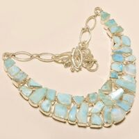 89 GRAM DASHING NATURAL CARIBBEAN LARIMAR CAB .925 SILVER NECKLACE 18 SS-574